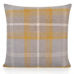 "18"" x 18"" Filled Etna Yellow and Grey Tartan Cushion"