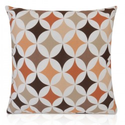 "18"" x 18"" Filled Retro Orange, Terracotta, White Design Cushion"