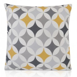 "18"" x 18"" Filled Retro Mustard Yellow, Grey, White Design Cushion"
